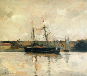 Sailing Boats Dieppe Harbor | John Twachtman | oil painting