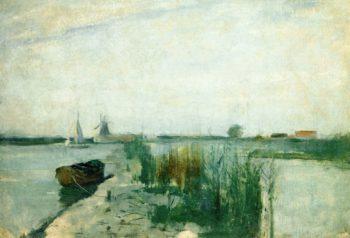 Scene along a Dutch River | John Twachtman | oil painting