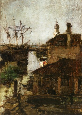 Ship and Dock Venice | John Twachtman | oil painting