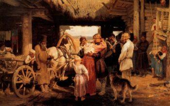 Send off of recruit | Ilia Efimovich Repin | oil painting