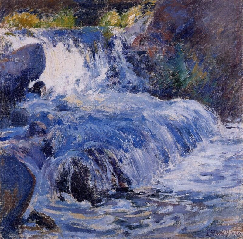 The Waterfall   John Twachtman   oil painting