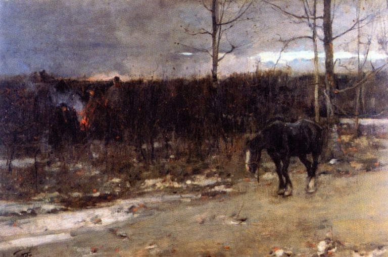 Gypsy Fires are Burning for Daylight's Past and Gone | James Guthrie | oil painting