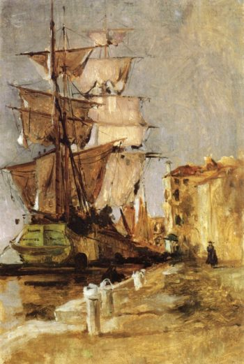 Venetian Sailing Vessel | John Twachtman | oil painting