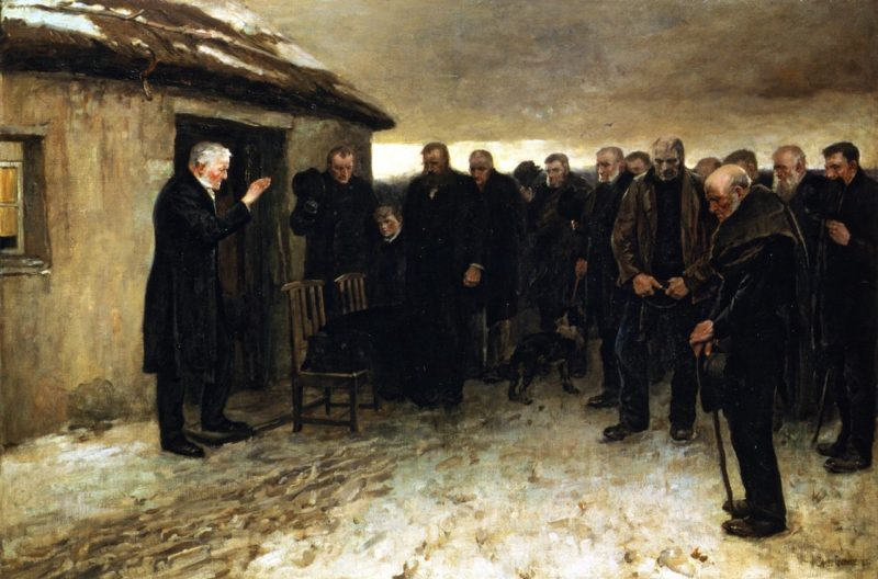 A Funeral Service in the Highlands | James Guthrie | oil painting