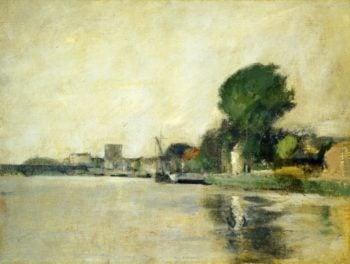 View along a River | John Twachtman | oil painting