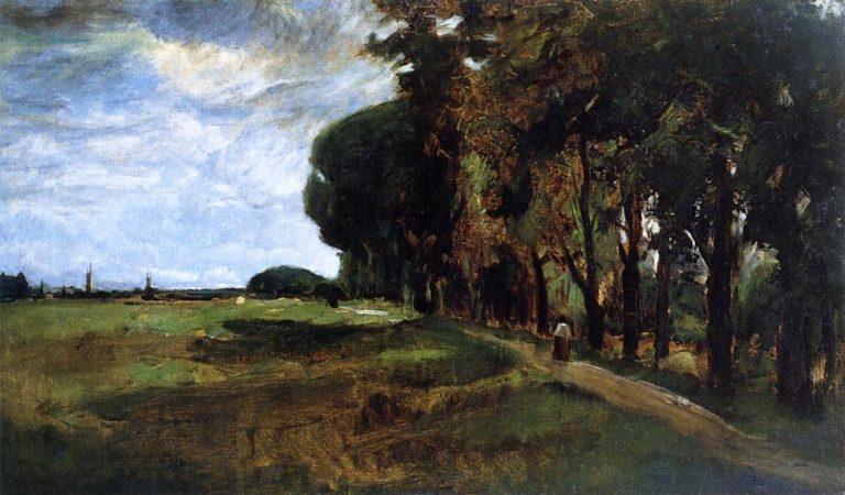View near Polling   John Twachtman   oil painting