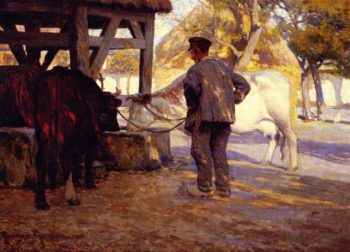 Watering Trough Pont de l'Arche | Clarence Gagnon | oil painting