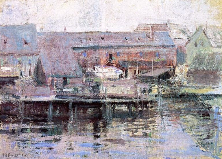 Waterfront Scene Gloucester | John Twachtman | oil painting