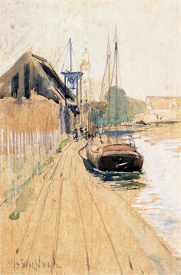 Waterside Scene | John Twachtman | oil painting