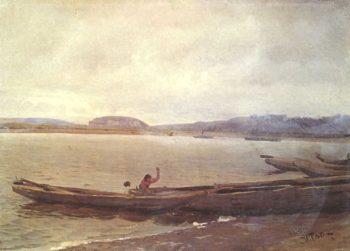 Landscape of the Volga with boats   Ilia Efimovich Repin   oil painting