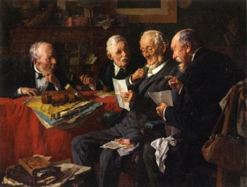 Reading the Will   Louis C Moeller   oil painting