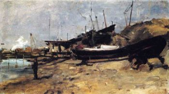 The Boat Yard | John Twachtman | oil painting