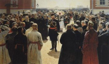 Aleksander III receiving rural district elders in the yard of Petrovsky Palace in Moscow   Ilia Efimovich Repin   oil painting