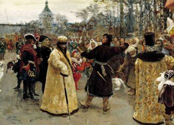 Arrival tsars Piotr and Ioann   Ilia Efimovich Repin   oil painting