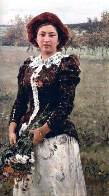 Autumn Bouquet Portrait of Vera Repina | Ilia Efimovich Repin | oil painting