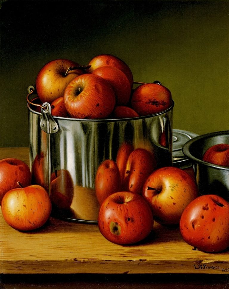 Apples in a Tin Pail | Levi Wells Prentice | oil painting
