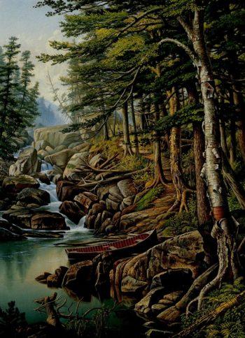 Moose River Adirondacks   Levi Wells Prentice   oil painting