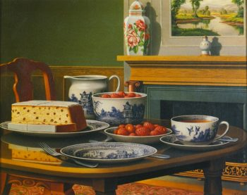 Tea Cake and Strawberries | Levi Wells Prentice | oil painting