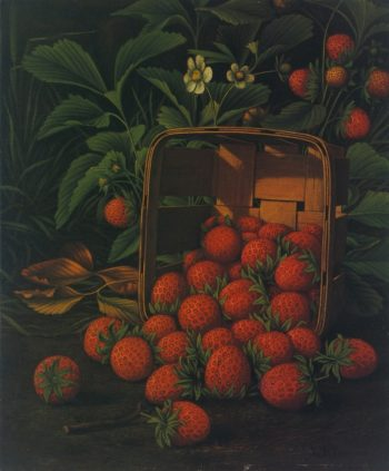 Strawberries Spilling from a Basket and Growing on a Bush | Levi Wells Prentice | oil painting