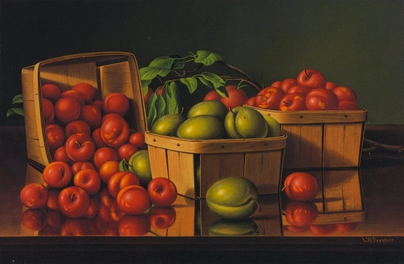 Still Life with Plums   Levi Wells Prentice   oil painting