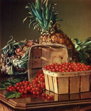 Still Life with Pineapple and Basket of Currants | Levi Wells Prentice | oil painting