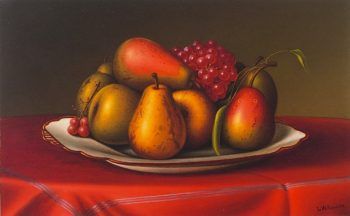 Still LIfe with Pears and Grapes | Levi Wells Prentice | oil painting