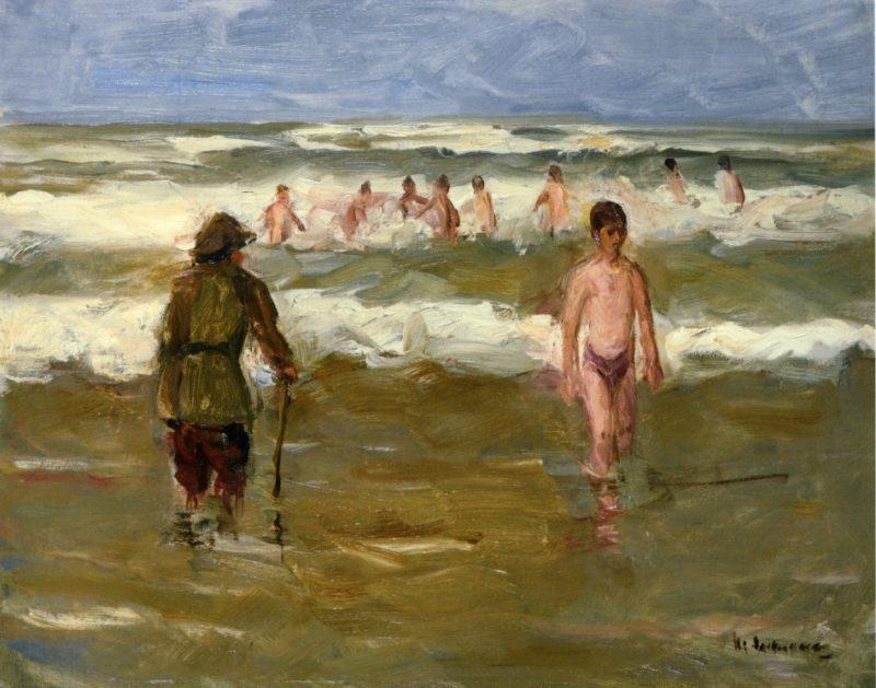 Boys Bathing with Beach Warden | Max Liebermann | oil painting
