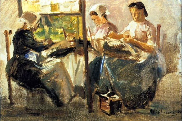 Brabant Lacemakers Study with Three Figures | Max Liebermann | oil painting