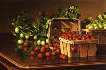 Still Life with Cherries and Gooseberries | Levi Wells Prentice | oil painting