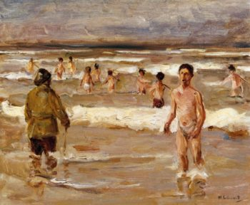 Children Bathing in the Sea | Max Liebermann | oil painting