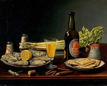 Still LIfe with Bass Ale and Oysters | Levi Wells Prentice | oil painting