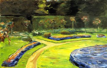 Circular Flower Bed in the Hedge Garden | Max Liebermann | oil painting