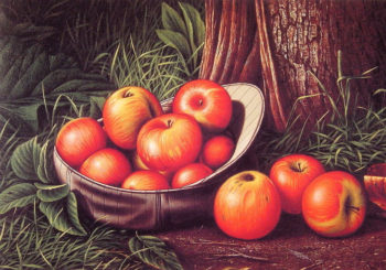 Still Life of Apples in a Giants Cap | Levi Wells Prentice | oil painting