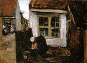 Dutch Farmhouse with Woman | Max Liebermann | oil painting
