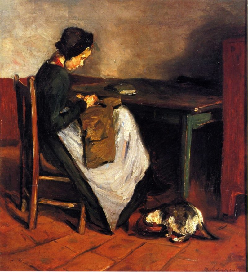 Girl Sewing with Cat Dutch Interior | Max Liebermann | oil painting