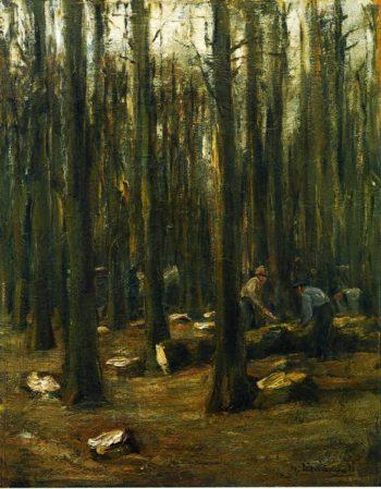 Holzhacker im Inneren eines Waldes | Max Liebermann | oil painting