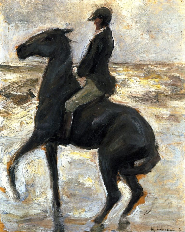 Horseback Rider on the Beach Facing Left | Max Liebermann | oil painting