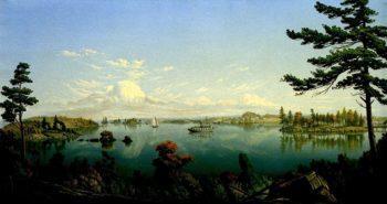 Pleasure Boats on a Lake | Levi Wells Prentice | oil painting