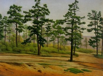 Pine Trees along a Deserted Road | Levi Wells Prentice | oil painting