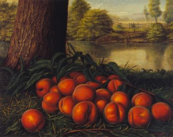Peaches in a Landscape | Levi Wells Prentice | oil painting