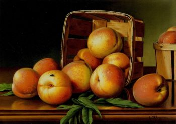 Peaches in a Basket | Levi Wells Prentice | oil painting