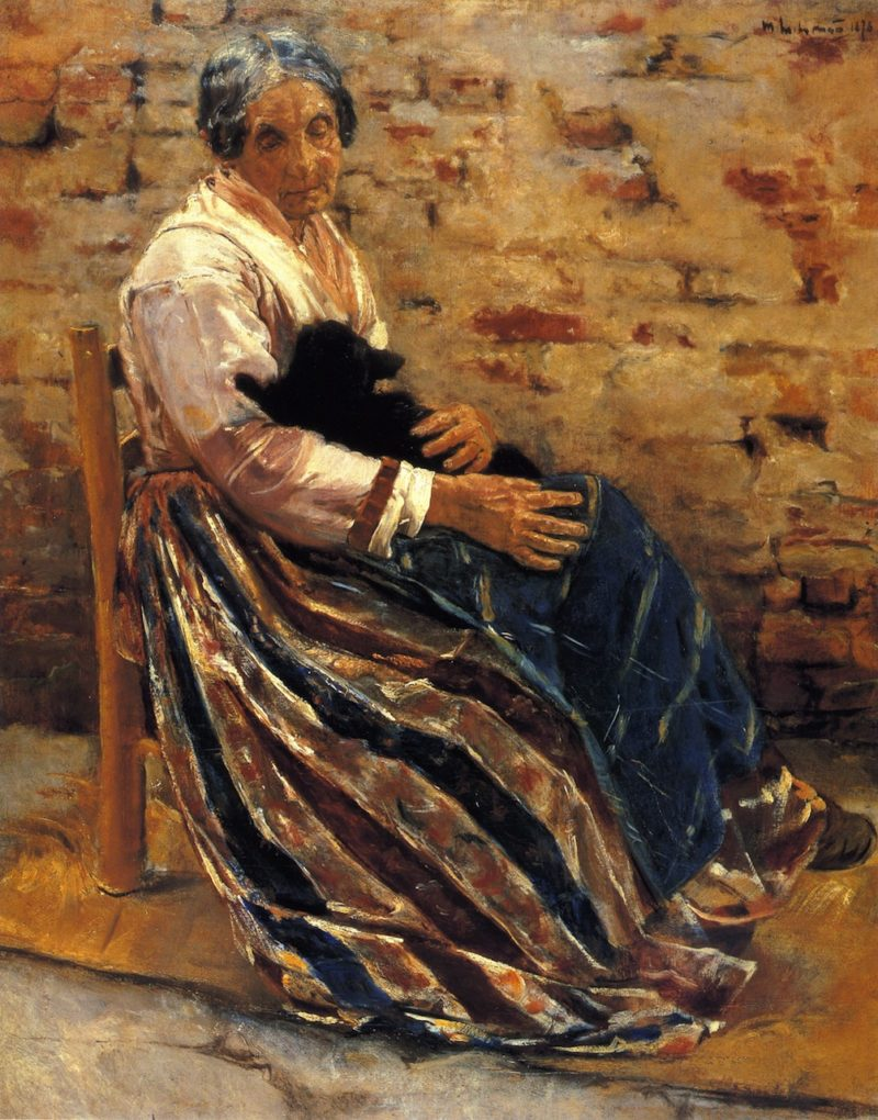Old Woman with Cat | Max Liebermann | oil painting