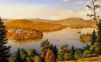Blue Mountain Lake with Ordway House | Levi Wells Prentice | oil painting