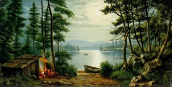 Moonlight Camping at Schroon Lake | Levi Wells Prentice | oil painting