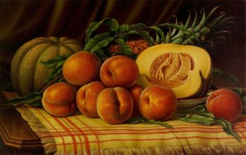Melons Peaches and Pineapple | Levi Wells Prentice | oil painting