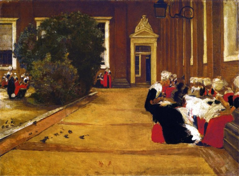 Recess in the Amsterdam Orphanage View of the Inner Courtyard Study | Max Liebermann | oil painting