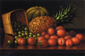 Gooseberries Plums Pineapple and Cantaloupe | Levi Wells Prentice | oil painting