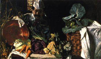 Self Portrait with Kitchen Still LIfe | Max Liebermann | oil painting