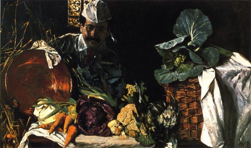 Self Portrait with Kitchen Still LIfe   Max Liebermann   oil painting