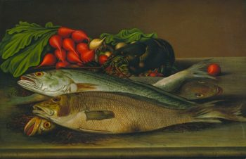 Fish Lobster and Radishes | Levi Wells Prentice | oil painting